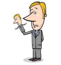 Puppeteer businessman concept cartoon vector