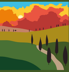rural landscape with mountains and hills sunset vector image