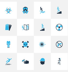 Safety icons colored set with protective clothing vector