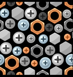 Seamless pattern with bolts nuts nails vector