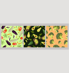 seamless patterns vegetables vector image