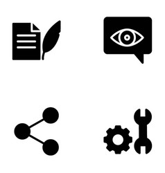 seo solid icons set vector image