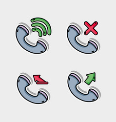 Set call mobile icon message vector