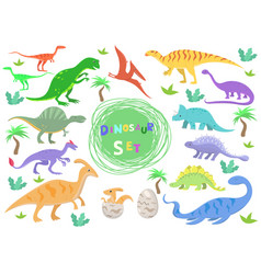 Set color dinosaurs in cartoon style vector