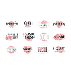 Set of emblems and logo for sushi shop vector