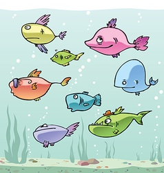 Set of the funny cartoon fishes in their habitat vector image