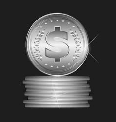 silver coin vector image