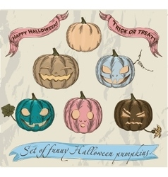 Six isolated Halloween pumpkins set vector image