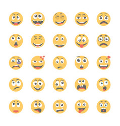 smiley flat icons set 11 vector image