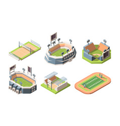 Sports fields stadiums isometric vector