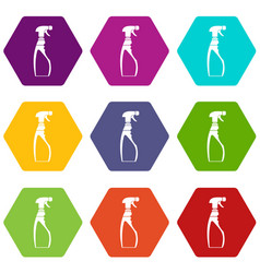sprayer bottle icon set color hexahedron vector image
