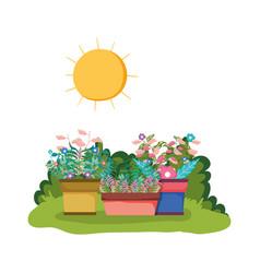 Sprinkler of garden with houseplant in the park vector