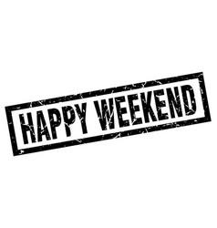 Square grunge black happy weekend stamp vector