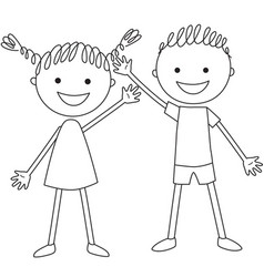 standing boy and girl vector image