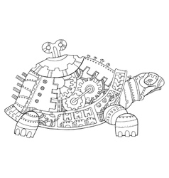 Steampunk style turtle coloring book vector