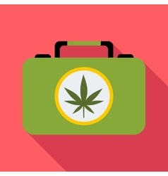 Suitcase with marijuana icon flat style vector