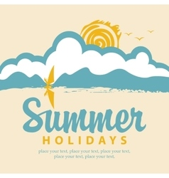 summer banner with sea and surfer vector image