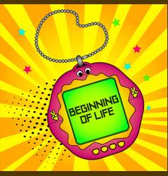 Tamagotchi pets pocket game beginning of life vector