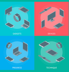 technology devices banner card set isometric view vector image