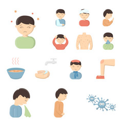 the sick man cartoon icons in set collection for vector image