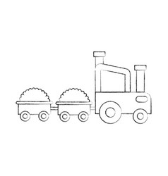 tractor farm with straw wagons vector image