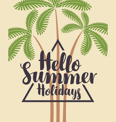 travel summer banner with decorative palm trees vector image