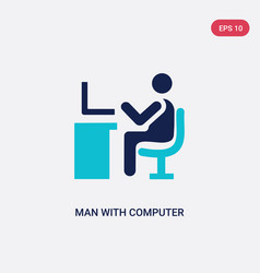 Two color man with computer screen icon from vector