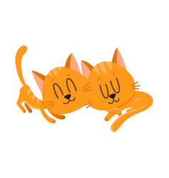 Two cute and funnylittle cat kitten characters vector