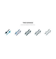 Two katanas icon in different style colored vector