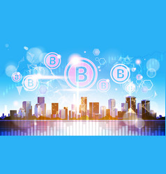 virtual bincoin hologram crypto currency internet vector image