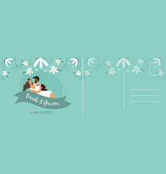 wedding postcard happy couple bride and groom vector image