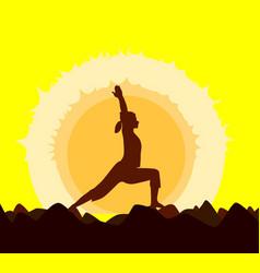 Yoga sunset vector