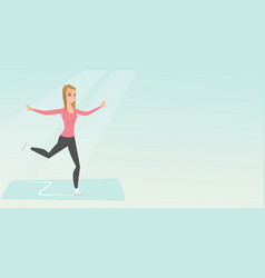 young caucasian female figure skater vector image