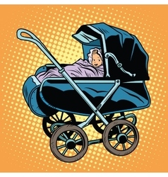baby nursery retro stroller vector image vector image