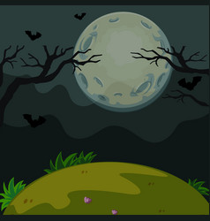 background scene with scary night on fullmoon vector image