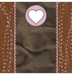 Brown and pink valentine vintage card EPS 8 vector image