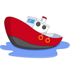 cartoon boat with water vector image