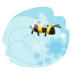 cute bumblebee leaves trace in shape of heart vector image