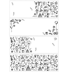 Holiday sketch banners for your design vector image