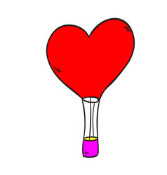 hot air balloon love on a white background vector image