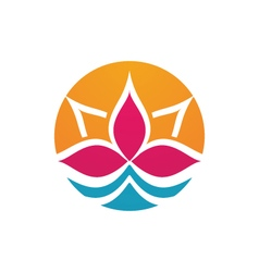 lotus flowers design logo Template vector image