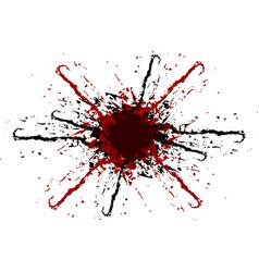 Splatter black and red color background vector