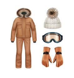 winter apparel set vector image vector image