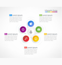 business infographic design template with 5 steps vector image