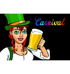 Pretty Bavarian girl with beer Oktoberfest girl vector image