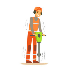 road worker in headphones working with jackhammer vector image