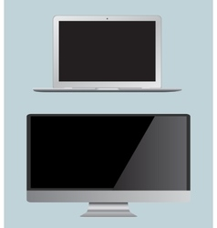 set monitor and laptop Realistic vector image
