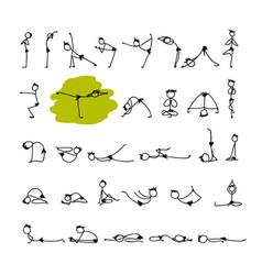 yoga set sketch for your design vector image