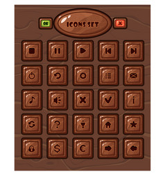cartoon square buttons set vector image
