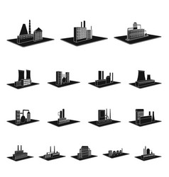 factory and plant black icons in set collection vector image
